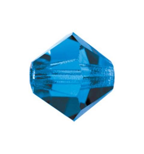 4MM Capri Blue (60310) Bi-Cone Rondell Preciosa Beads