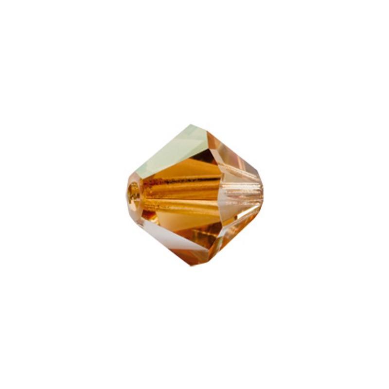 3MM Crystal Capri Gold (00030 271 CaG) Bi-Cone Rondell Preciosa Beads