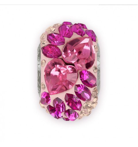 15mm BeCharmed Pavé Flying Heart 81883 Rose (209)/Vintage Rose (47) Bead Swarovski Elements