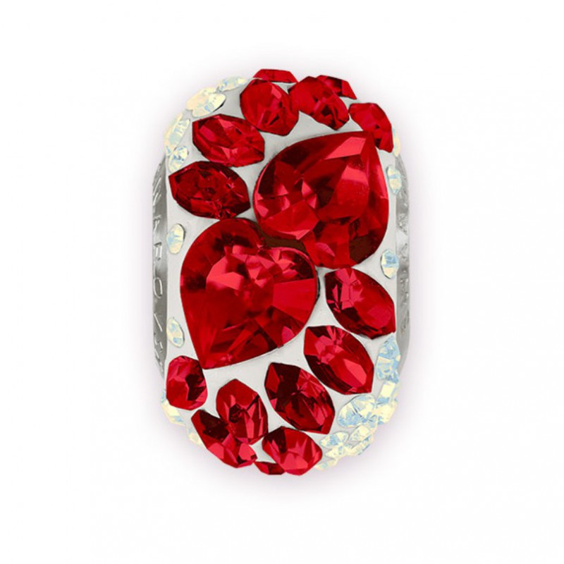 15mm BeCharmed Pavé Flying Heart 81883 Light Siam (227)/White (01) Bead Swarovski Elements