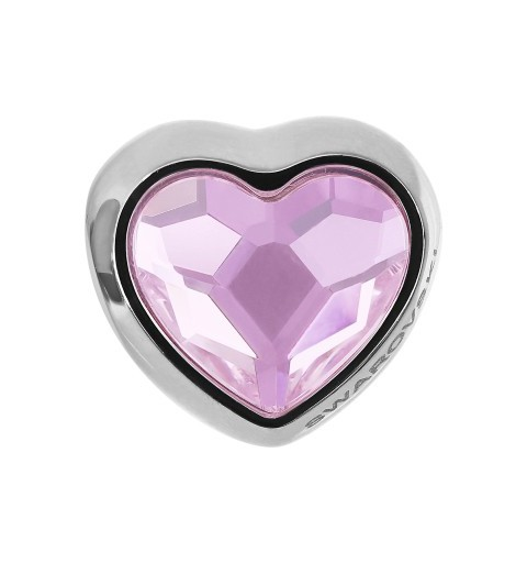 14mm BeCharmed Pavé Heart 81951 Rosaline (508) MetalBead Swarovski Elements