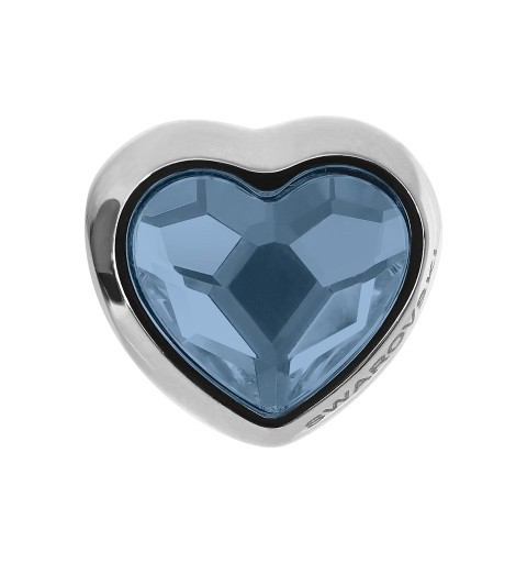 14mm BeCharmed Pavé Heart 81951 Denim Blue (266) MetalBead Swarovski Elements