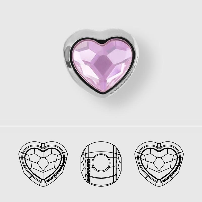 14mm BeCharmed Pavé Heart 81951 Denim Blue (266) MetalBead Swarovski Elements