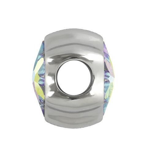 14mm BeCharmed Pavé Heart 81951 Crystal AB (001 AB) MetalBead Swarovski Elements
