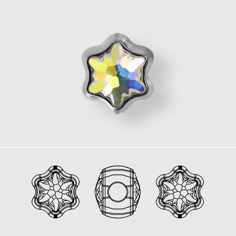 13.5mm BeCharmed Edelweiss 81961 Crystal AB (001 AB) MetalBead Swarovski Elements