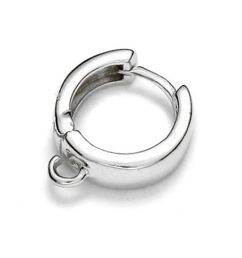 STERLING SILVER 925 FINDING EARRING WITH RING 12.4x15MM