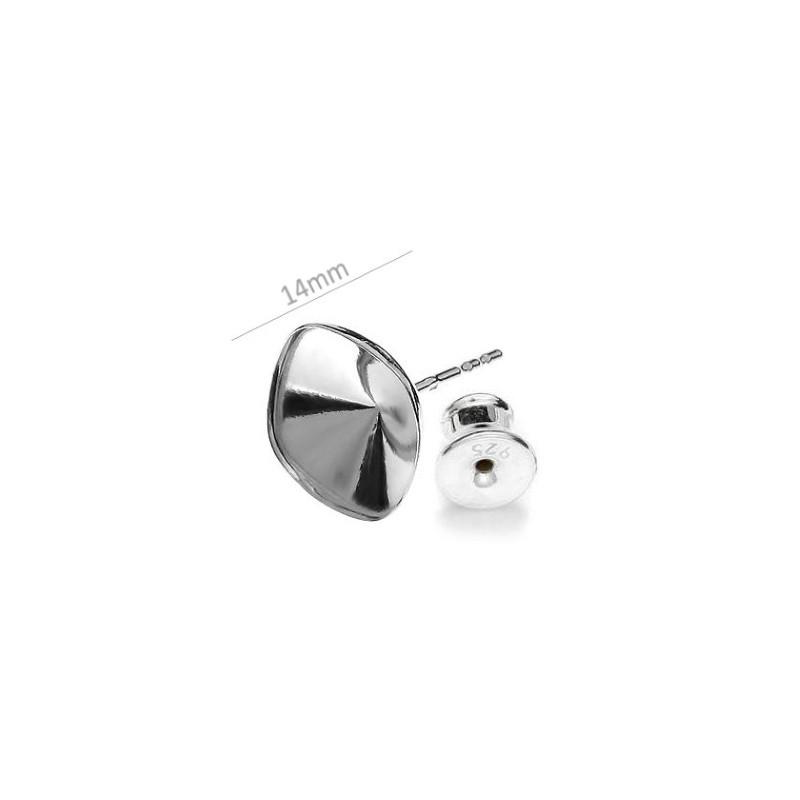 Для 1088 SS45 (~10,20mm) прибл. 14,5X10,2mm Сваровски Серебрянная основа для серёжки