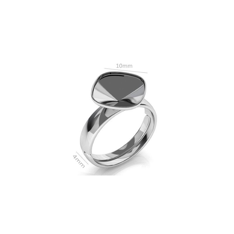 Sterling Silver regulating ring max. inside size 64 (d. 20.5mm) with setting for rivoli 1122 14mm