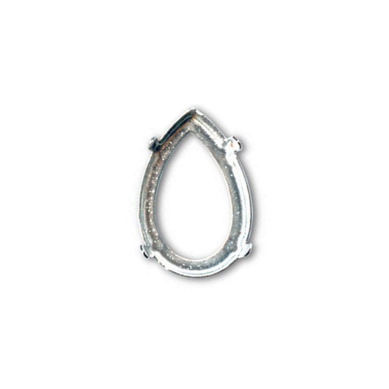18x13mm Setting for Swarovski Pear-Shaped 4320 Silver colored with eye