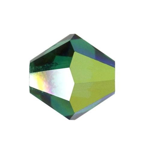 4MM Emerald AB2x (50730) Bi-Cone Rondell Preciosa Beads