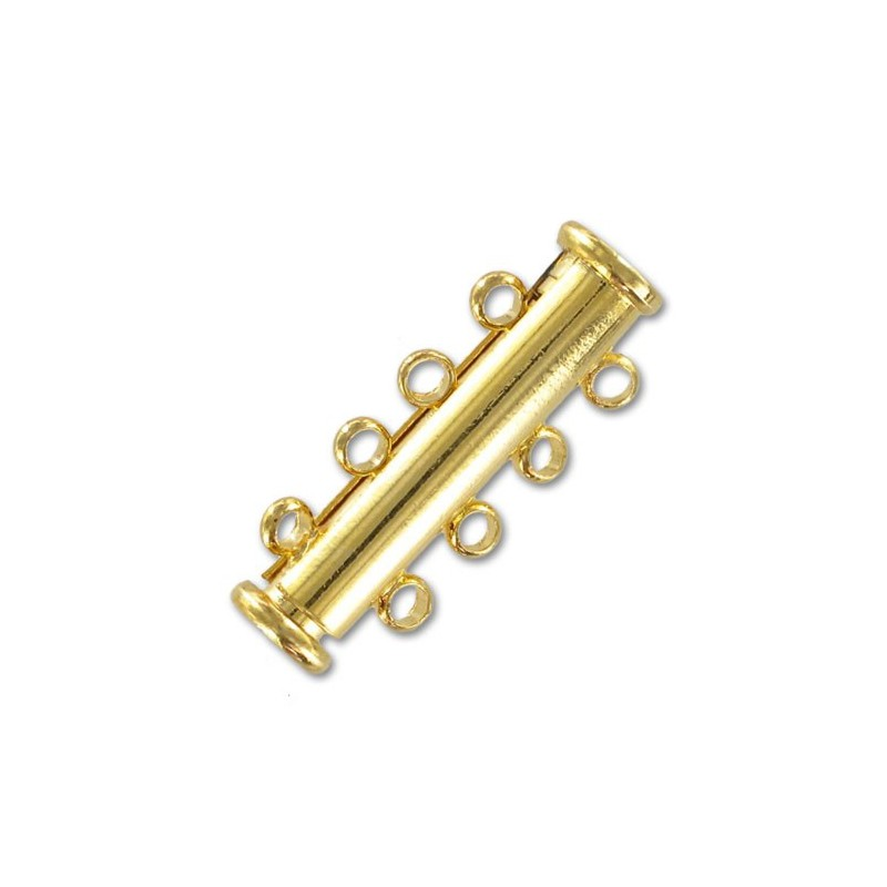magnetic slide clasp Gold tone 5 rows approx. 11x30mm