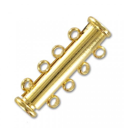 magnetic slide clasp Gold tone 4 rows approx. 11x25mm