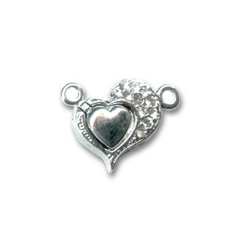 magnetic slide clasp Silver tone 4 rows approx. 11x25mm