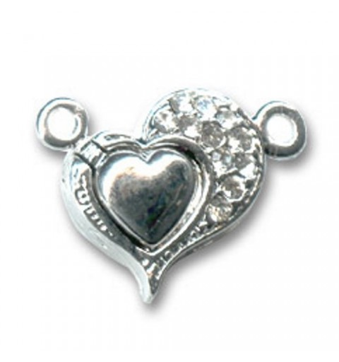 magnetic clasp heart shape Silver tone 18mm