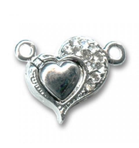 магнитная застёжкав в виде сердечка тон Серебра 18мм