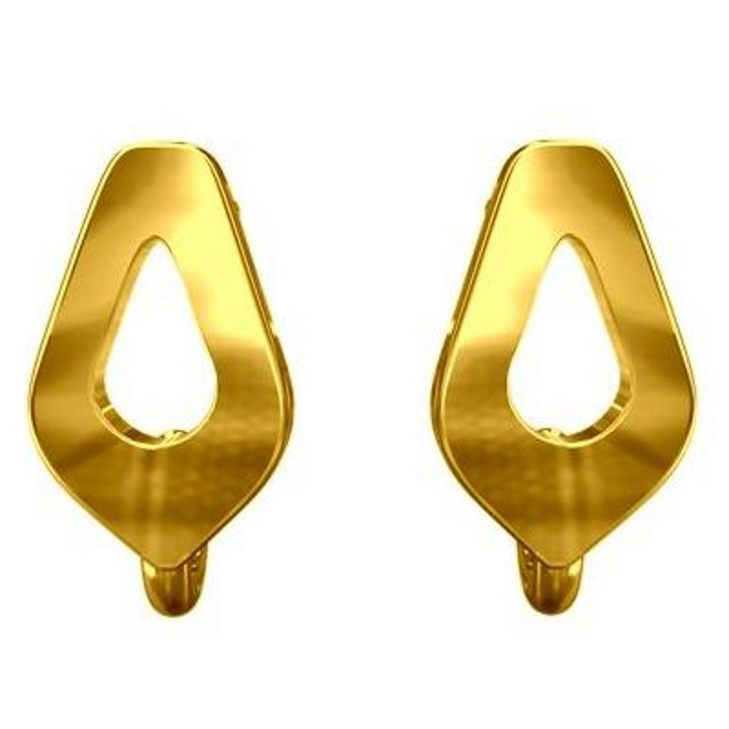 STERLING SILVER 925 Gold Plated EARRINGS STUD WITH RING 9.8X14.6MM