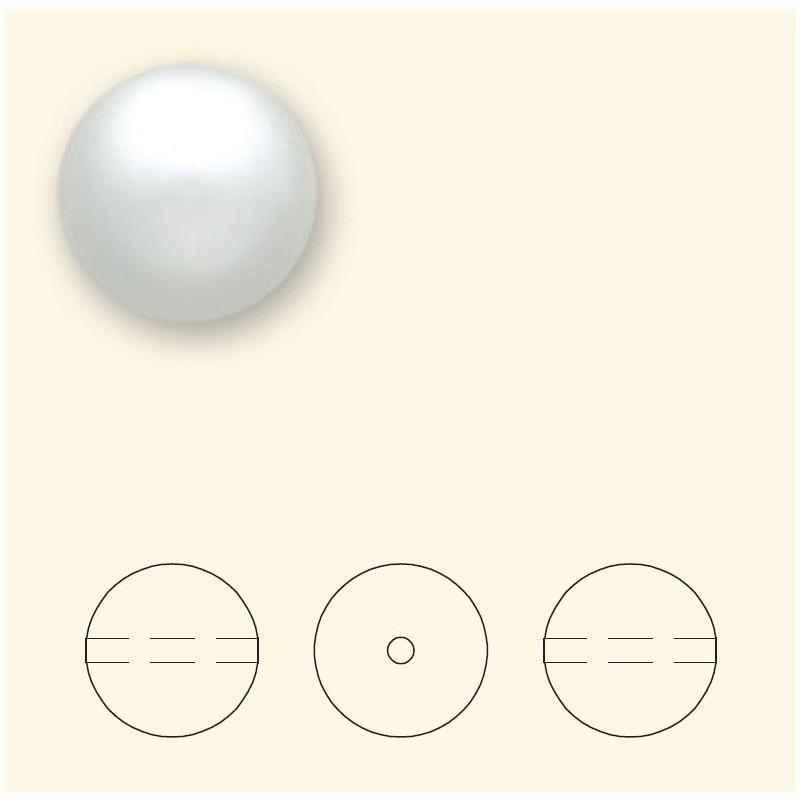 14MM White Crystal Round Pearl (001 650) Large Hole 5811 SWAROVSKI ELEMENTS