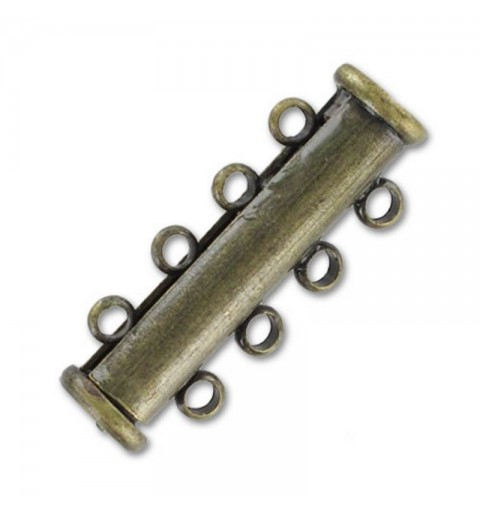 magnetic slide clasp Bronze tone 4 rows approx. 11x27mm