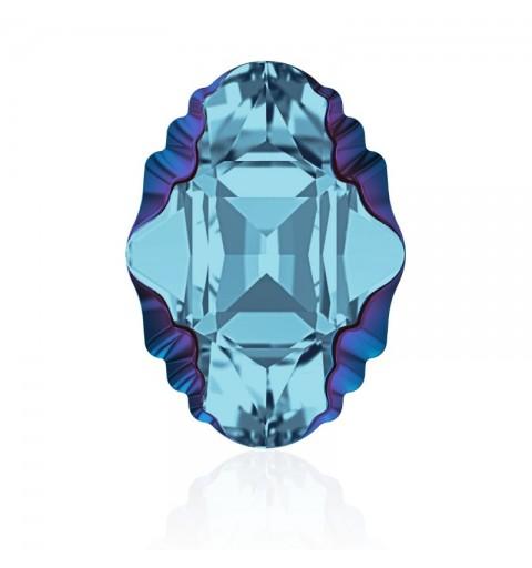 19x14mm Aquamarine Metallic Blue Z F (202 MEBLZ) Oval Tribe Fancy Stone 4926 Swarovski Elements