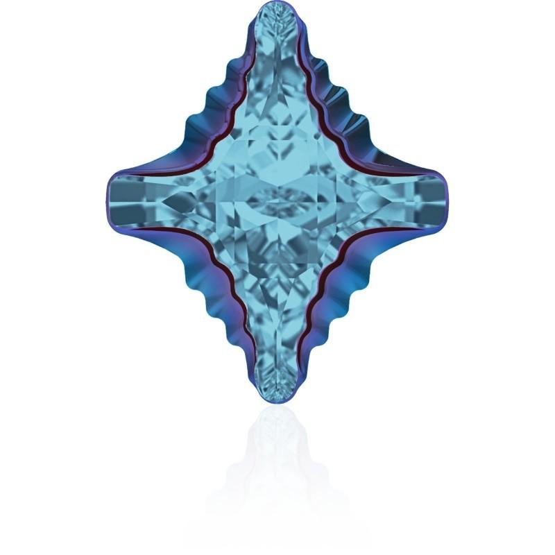 19x17mm Aquamarine Metallic Blue Z F (202 MEBLZ) Rhombus Tribe Ehete Kristall 4927 Swarovski Elements