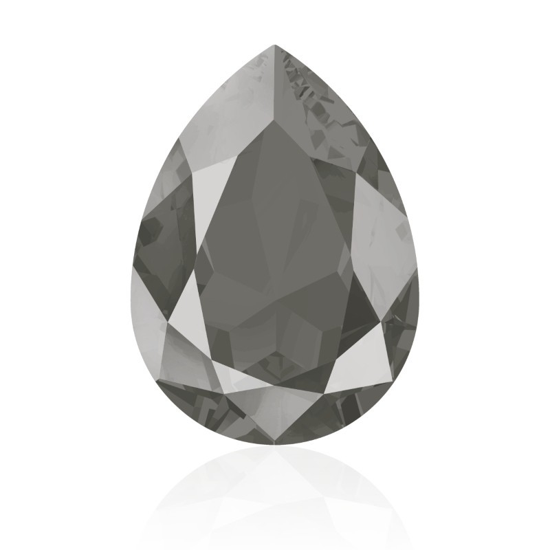 14x10mm Crystal Dark Grey (001 L111S) Pear-Shaped Fancy Stone 4320 Swarovski Elements