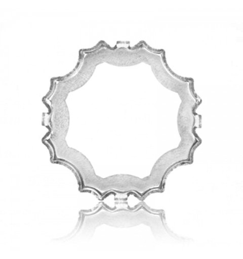 23mm 4753/S 1PH2OH Edelweiss Rhodium plated Fancy Stone Setting (4 HOLES/2EACH SIDE - OPEN)