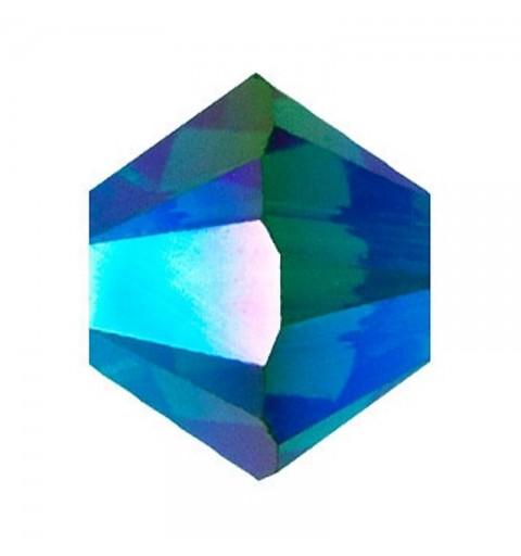 3MM Emerald AB2x (205 AB2) 5328 XILION Bi-Cone Beads SWAROVSKI ELEMENTS