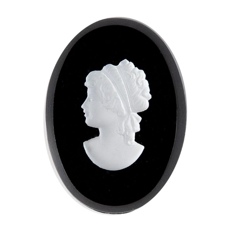 25x18mm Камея Левосторонняя в оправе 1-петля серебро 7192-1118 Кабошон Preciosa