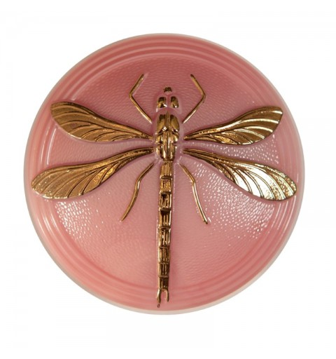 "Gold Dragonfly Vintage Rose decoration Czech Glass Button 18""(40,5mm)"