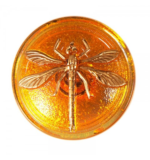 "Gold Dragonfly Topaz-AB decoration Czech Glass Button 14""(31,5 mm)"