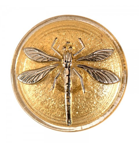 "Silver Dragonfly Gold decoration Czech Glass Button 14""(31,5 mm)"