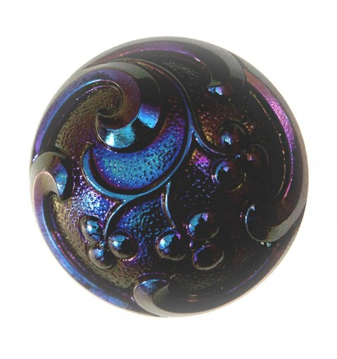 "Flower Motive violet-blue decoration Czech Glass Button 12""(27 mm)"