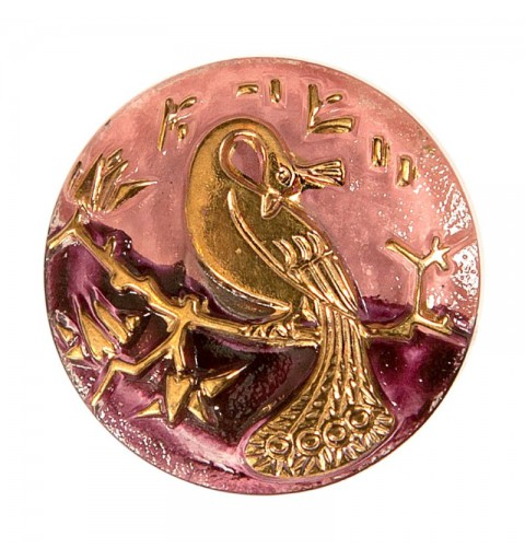 "Gold Peacock purple-rose decoration Czech Glass Button 10""(22,5 mm)"