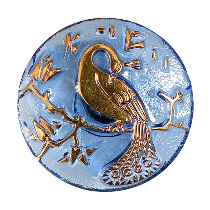 "Gold Peacock blue decoration Czech Glass Button 10""(22,5 mm)"