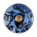 "Gold Peacock purple-rose decoration Czech Glass Button 10""(22,5 mm)"