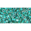 TR-08-245 Inside-Color Rainbow Jonquil/Jet Lined TOHO SEED BEADS