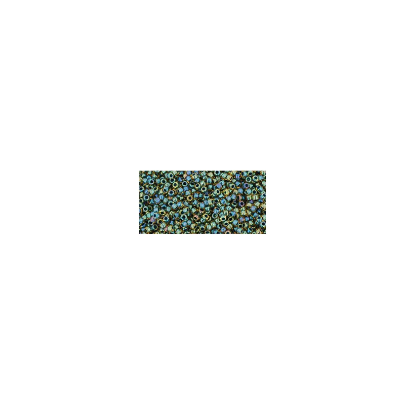 TR-15-243 Inside-Color Topaz/Opaque Emerald Lined TOHO Seed Beads