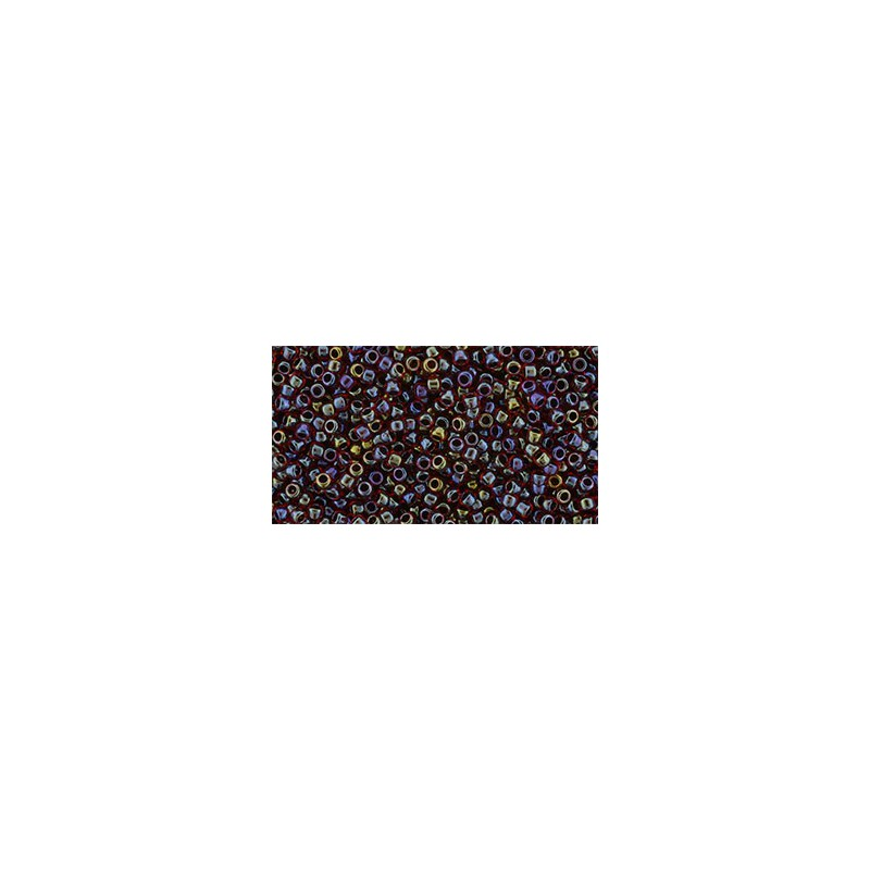 TR-15-400 Inside Color - Rainbow - Ruby/Jet Lined TOHO Seed Beads