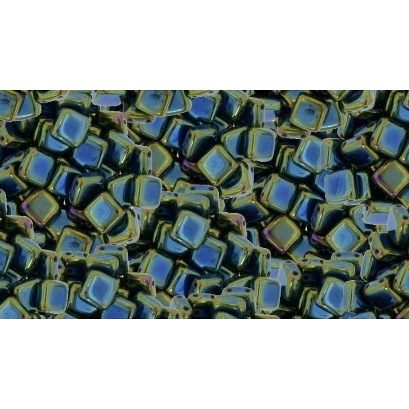 6mm Iris - Green CzechMates плитка (Tile) бисер