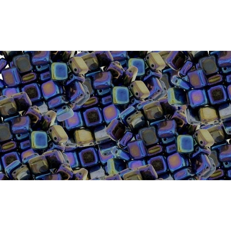 6mm Iris - Blue CzechMates Tile beads