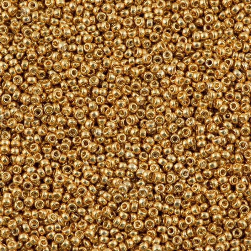 RR-15-1053 Yellow Gold Galvanized Miyuki Круглые Rocailles 15/0