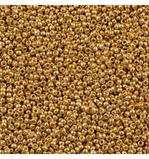 RR-15-1053 Yellow Gold Galvanized Miyuki Round Rocailles 15/0