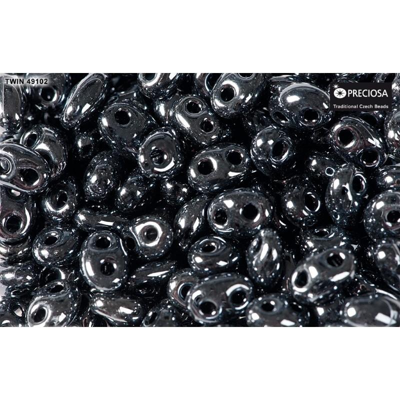 Twin-2RH-49102 Jet Hematite PRECIOSA-ORNELA Seed Beads