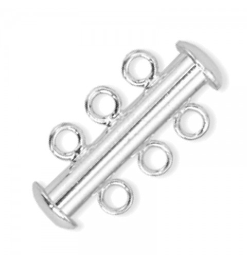 magnetic slide clasp Silver tone 3 rows approx. 11x22mm