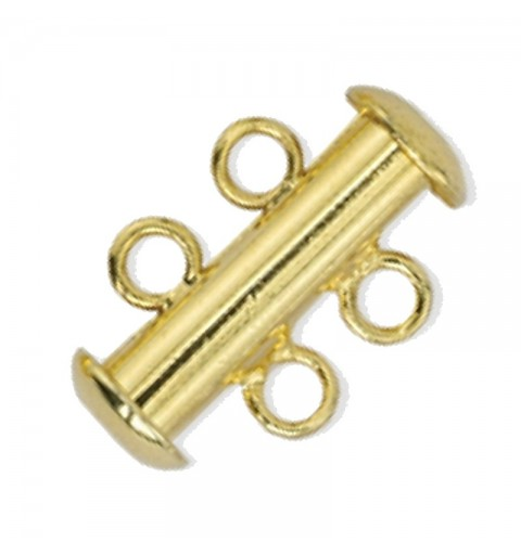slide clasp Gold tone 2 rows approx. 11x17mm