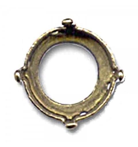 10mm (SS45) Setting for Swarovski Rivoli 1122 Bronze colored (4 holes, 4 prongs)