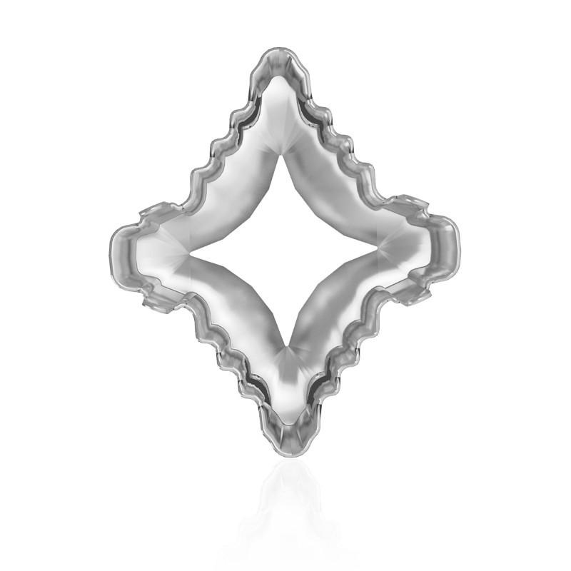 19x17mm 4927/S 1PH2OH Rhodium pinnatud Rhombus Tribe Ehete Kivipesa (4 AUKUDEGA/2MÕLEMADE POOLT - AVATUD)