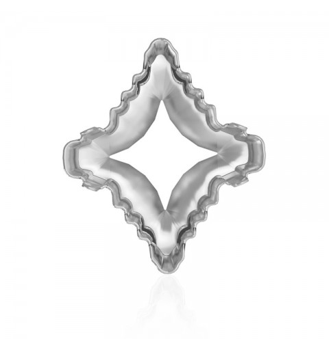 19x17mm 4927/S 1PH2OH Rhodium plated Rhombus Tribe Fancy Stone Setting (4 HOLES/2EACH SIDE - OPEN)