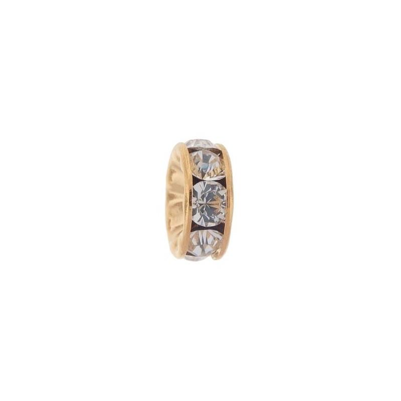 8mm Crystal F Rhinestone Brass Rondelle 77508 Swarovski Elements