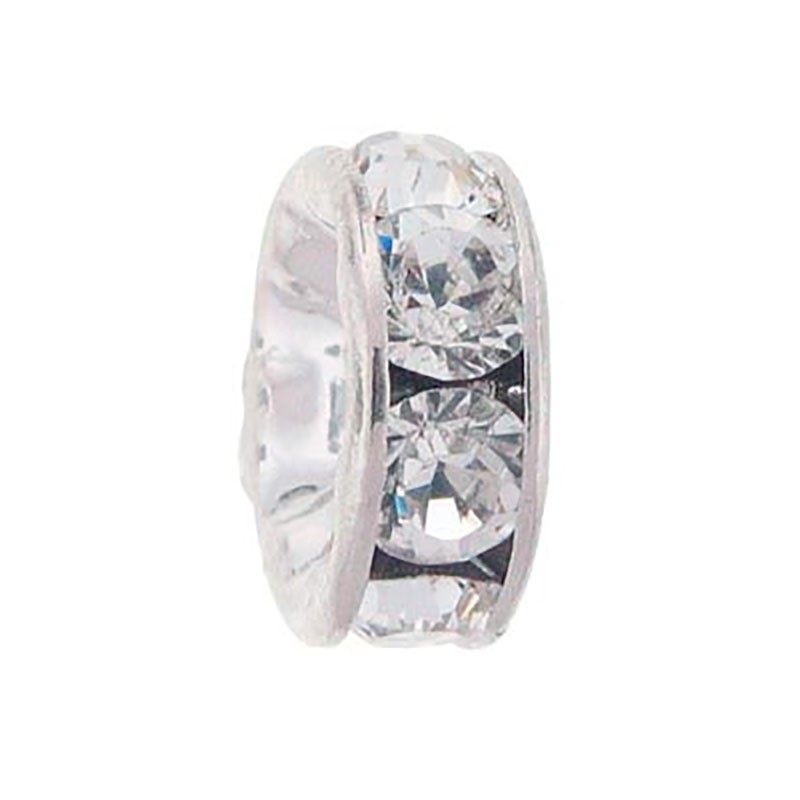 4mm Crystal F Rhinestone Rhodium Rondelle 77504 Swarovski Elements